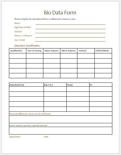 Bio Data Form Template