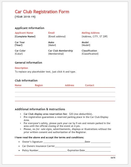 Car Club Registration Form