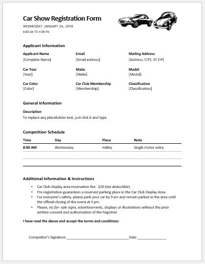 Car Show Registration Form Template  Paper Registration Form Template