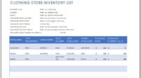 Clothing Store Inventory Template