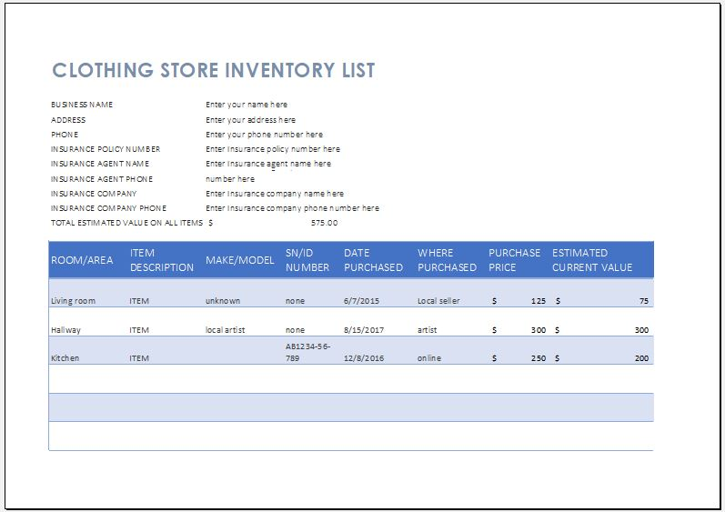 Clothing Store Inventory List Template Word Excel Templates