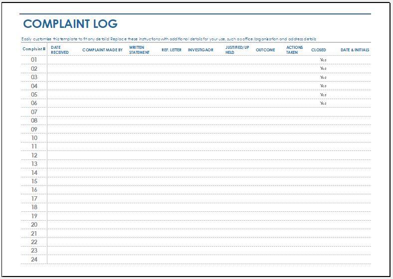 Complaint log template