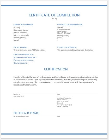 Construction work completion certificate