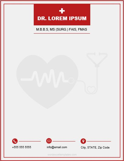 Doctor Letterhead Templates For Ms Word Word Amp Excel