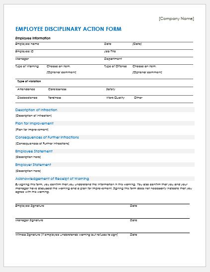 Employee Discipline Form Template from www.wordexceltemplates.com