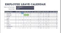 Employee leave calendar template