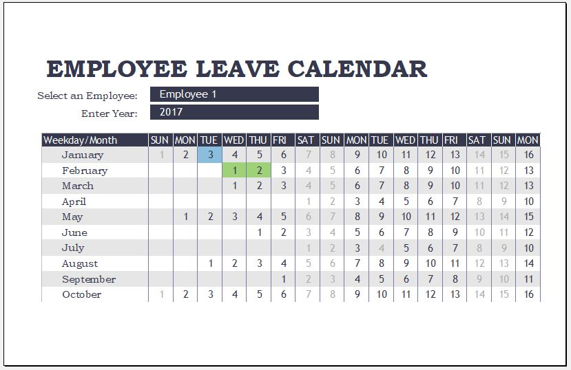 employee leave calendar templates for ms excel word. Black Bedroom Furniture Sets. Home Design Ideas
