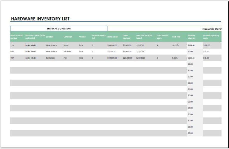 Inventory List Templates   19+ Free Printable Xlsx, Docs ...