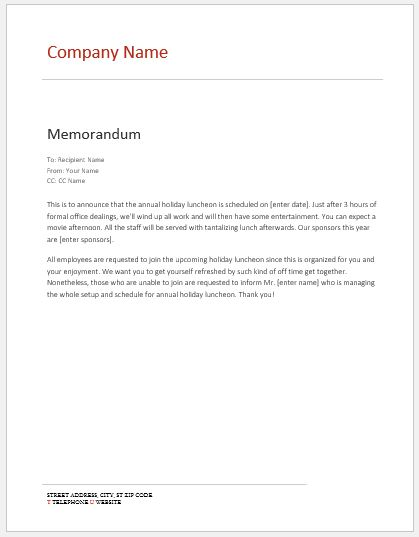 Internal Memo Templates For Ms Word  Word  Excel Templates