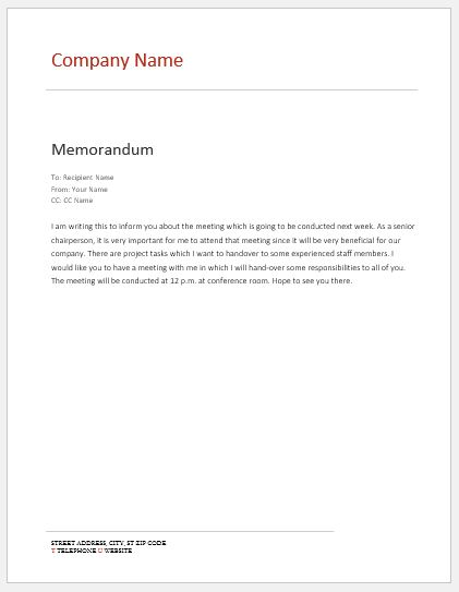 internal memo templates for ms word