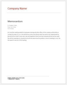 Internal memo about monthly meeting