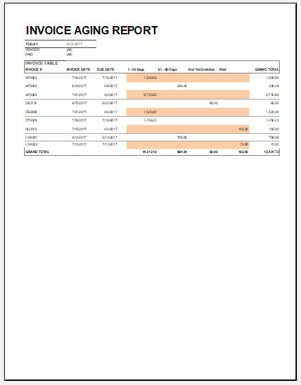 invoice aging report template for excel