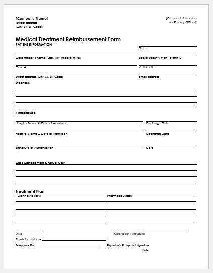 Medical Treatment Reimburt Form