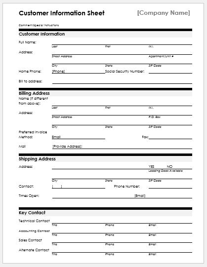 Customer Information Sheet  Client Information Form Template