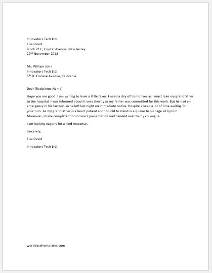 letter asking for time off from work one day request letter to word amp excel templates 27991 | One day off request letter to boss