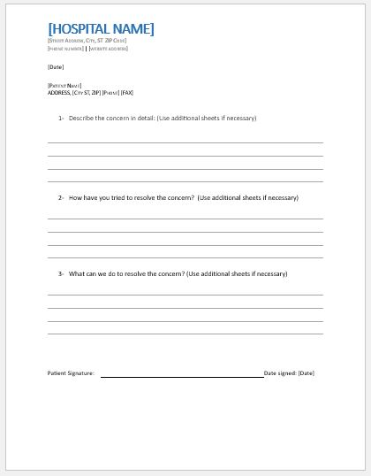 Patient grievance form template
