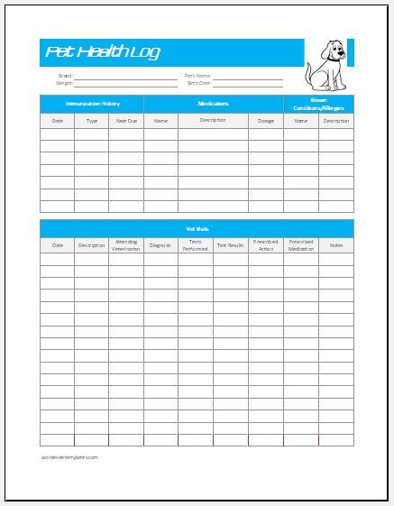 Pet health log template