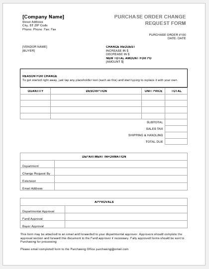 Purchase order change request forms word excel templates for It purchase request form template