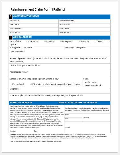 Reimbursement claim form for patient