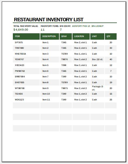Restaurant Inventory Template For Ms Excel Word Excel Templates