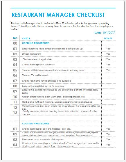 Restaurant cleaning checklist for ms excel word excel for Commercial kitchen cleaning checklist template