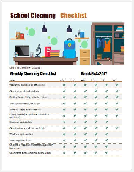School Cleaning Checklist Template For Excel Word Excel