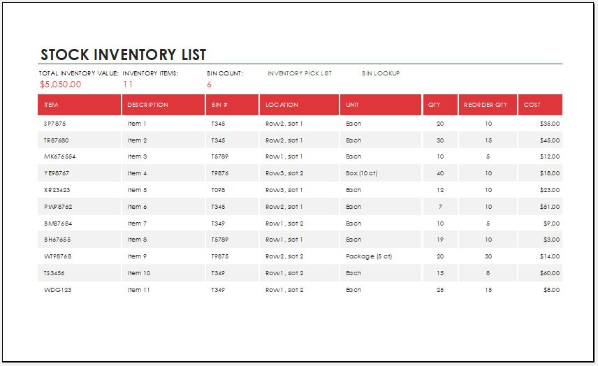 stock inventory template for ms excel
