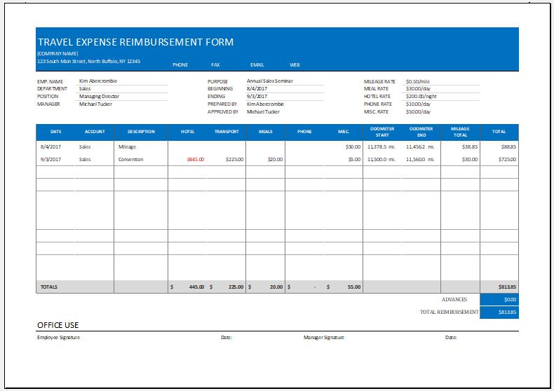 Expense Reimbursement Form Templates For Excel | Word & Excel