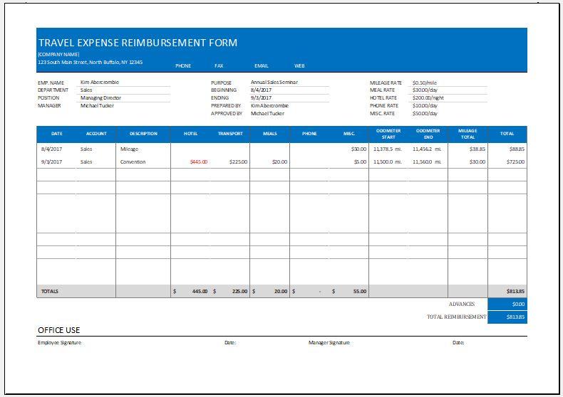 Travel expense reimbursement form