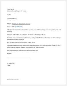 Warning letter for disrespectful behavior