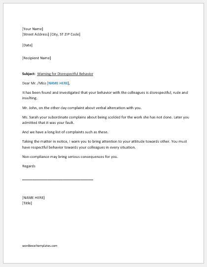 Warning letter for unacceptable behavior at work word excel warning letter for disrespectful behavior spiritdancerdesigns Gallery
