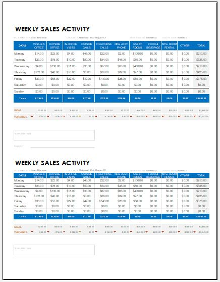 weekly sales report templates for ms excel