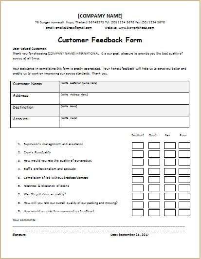 Customer Feedback Form. Customer Feedback Questionnaire Customer