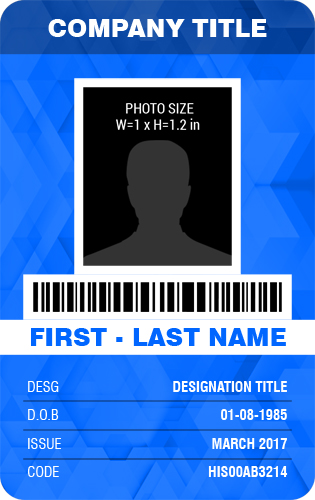 Vertical Design Employee Photo Id Badge Templates Word