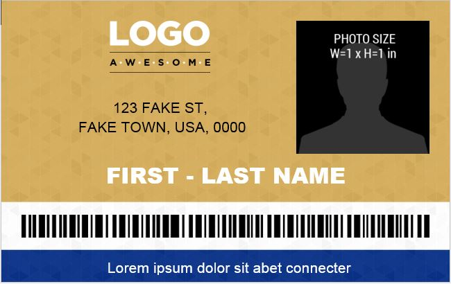 Photo ID Badge Template for Office Employees