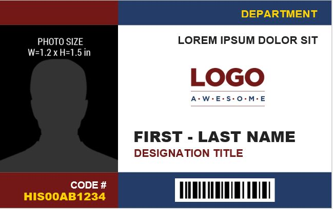 Office Employee Photo ID Badge Template