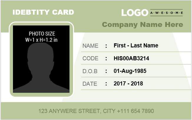 Employee badge template employee id template 4 id card for Staff id badge template