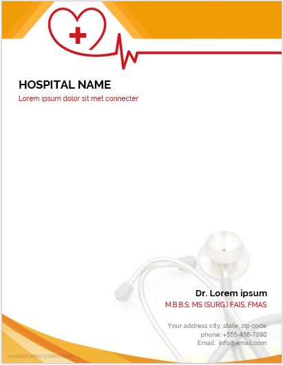 MS Word Letterhead Template for Hospitals