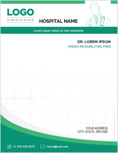 MS Word Letterhead Template for Hospital