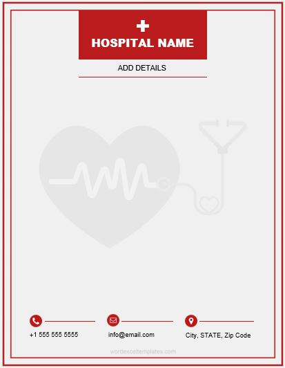 MS Word Letterhead Template for Hospital & Clinics