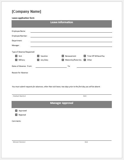 Leave application form template MS Word
