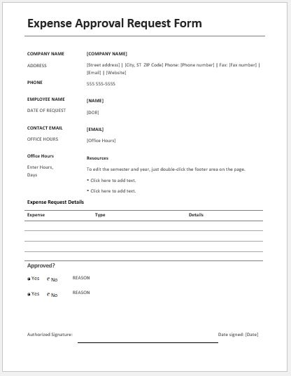 Office expense approval request form template MS Word