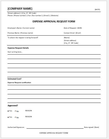 Expense approval request form template MS Word