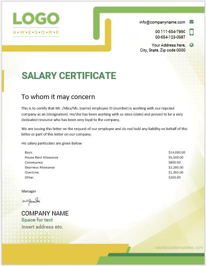 Salary Certificate Template MS Word  Certificate Template Ms Word