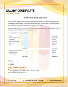 MS Word salary certificate template
