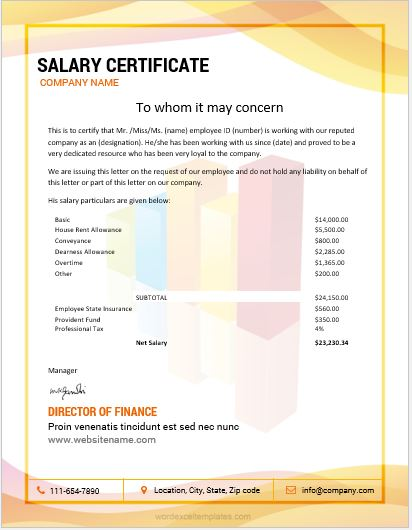 10 Best Salary Certificate Templates for MS Word | Word & Excel