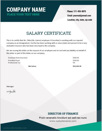 10 Best Salary Certificate Templates for MS Word | Word