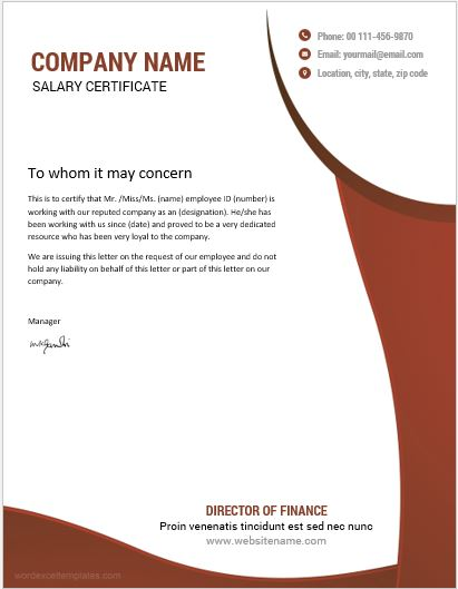 10 best salary certificate templates for ms word word excel employee salary certificate sample thecheapjerseys Choice Image