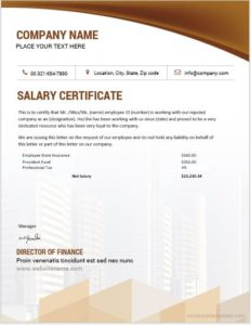 Salary certificate template for employees