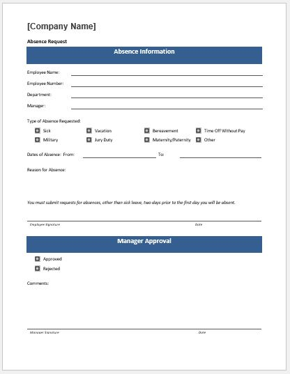 Time off request form template
